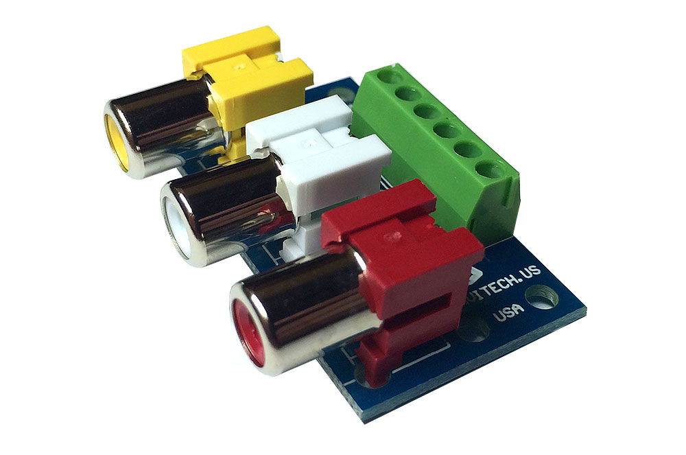 rca jack breakout board red white yellow
