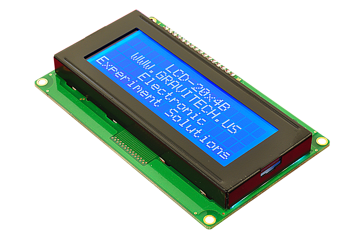 20x4 White On Blue Character Lcd With Backlight Module In 4 Bit Mode